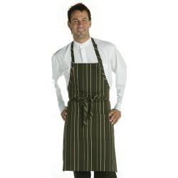 Chef Works - A500-BCM - Brown/Cream Striped Bib Apron image