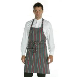 Chef Works - A500-GCR - Gray/Charcoal Striped Bib Apron image
