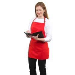 RDW - A9035R - 3 Pocket Red Bib Apron image