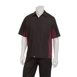 Chef Works - CSMC-BME-4XL - Cool Vent Black/Merlot Shirt (4XL) image
