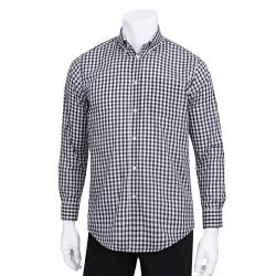 Chef Works - D500BWC-M - Men's Black Gingham Dress Shirt (M) image