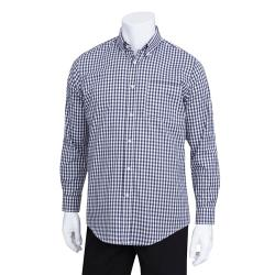 Chef Works - D500BWK-M - Men's Navy Gingham Dress Shirt (M) image