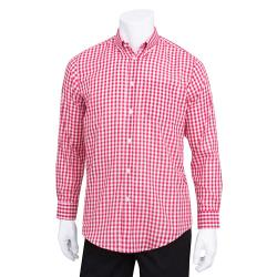 Chef Works - D500WRC-S - Men's Red Gingham Dress Shirt (S) image