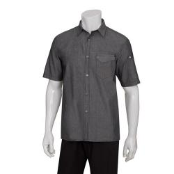 Chef Works - SKS002-BLK-XS - Black Detroit Short-Sleeve Denim Shirt (XS) image