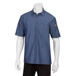 Chef Works - SKS002-IBL-XS - Indigo Blue Detroit Short-Sleeve Denim Shirt (XS) image