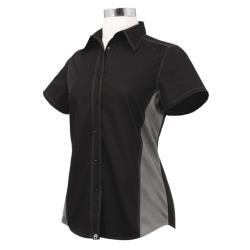 Chef Works - CSWC-BLM-M - Women's Cool Vent Black/Gray Shirt (M) image