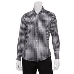 Chef Works - W500BWC-M - Women's Black Gingham Dress Shirt (M) image