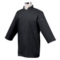 Chef Works - JLCL-BLK - Cool Vent Black 3/4 Sleeve Coat (L) image