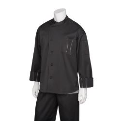 Chef Works - SILS-BTG-2XL - Amalfi Black/Gray Chef Coat (2XL) image