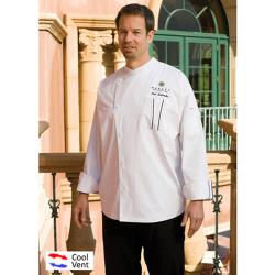 Chef Works - SILS-WET-2XL - Amalfi White/Black Chef Coat (2XL) image