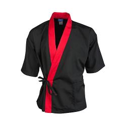 KNG - 2129BKRDS - Sm Black and Red 3/4 Sleeve Sushi Chef Coat image
