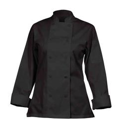Chef Works - CWLJ-BLK-L - Women's Marbella Black Chef Coat (L) image