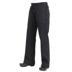 Chef Works - BWOM-BPS-3XL - Women's Black Pinstripe Chef Pants (3XL) image