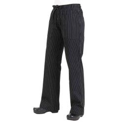 Chef Works - BWOM-BPS-L - Women's Black Pinstripe Chef Pants (L) image