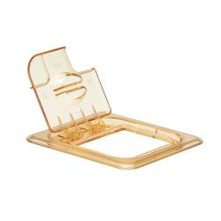 Cambro - 60HPLN150 - 1/6 Size Amber H-Pan™ FlipLid® Hinged Notched High Heat Food Pan Cover image