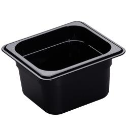 Cambro - 64HP110 - 1/6 Size 4 in Deep Black H-Pan™ Food Pan image