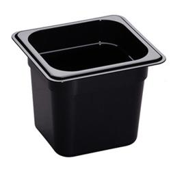 Cambro - 66HP110 - 1/6 Size 6 in Deep Black H-Pan™ Food Pan image