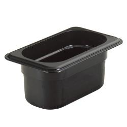 Cambro - 94HP110 - 1/9 Size 4 in Deep Black H-Pan™ Food Pan image