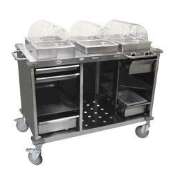Cadco - CBC-HC-L3 - Mobile Hot And Cold Buffet Cart With Gray Laminate Skirt image