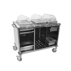 Cadco - CBC-HHH-L3 - Mobile Hot Buffet Cart With Gray Laminate Skirt image