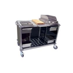 Cadco - CBC-MCC-L3 - Smoke Gray Mobile Cooking Cart image