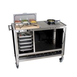 Cadco - CBC-PHR-6 - Mobile Chef Cart with (6) 1/6 pans and Glass Ceramic Range image