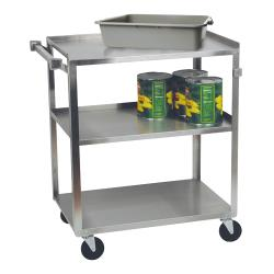 Focus Foodservice - 90411 - 15 1/2 in x 24 in 3-Tier Stainless Steel Utility Cart image