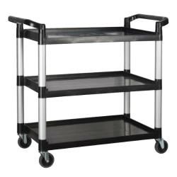 Winco - UC-3019K - 40 3/4 in x 19 1/2 in 3-Tier Black Utility Cart image