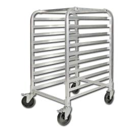 Winco - ALRK-10BK - 10 Tier Aluminum Sheet Pan Rack With Brakes image