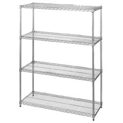 "Commercial - 14"" x 60"" 4 Shelf Chrome Plated Shelving Unit image"