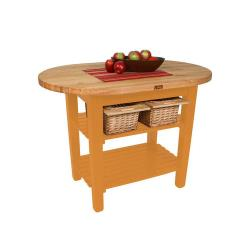 John Boos & Co. - C-ELIP4830175-S-TG - 48 in Tangerine Eliptical Table with Shelf image
