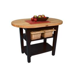 John Boos & Co. - C-ELIP6030175-S-BK - 60 in Black Eliptical Table with Shelf image