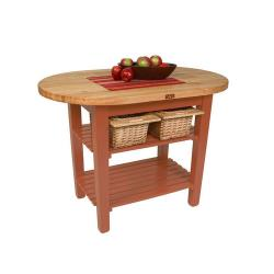 John Boos - C-ELIP4830175-S-CR - 48in Cherry Stain Eliptical Table w/ Shelf image