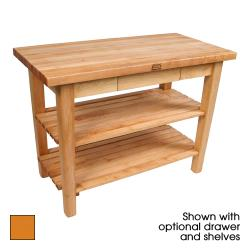 "John Boos - C3624C-D-S-TG - 36"" Tangerine Classic Country Table w/ Drawer, Shelf & Casters image"