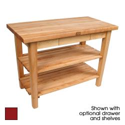 "John Boos - C4830C-D-S-BN - 48"" x 30"" Barn Red Classic Country Table w/ Drawer, Shelf & Casters image"