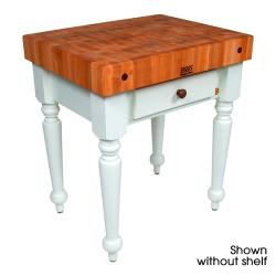 "John Boos - CHY-CUCR04-SHF-AL - 30"" Cherry Rustica Table w/ Shelf image"
