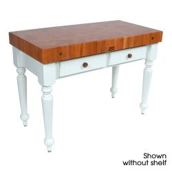 "John Boos - CHY-CUCR05-SHF-AL - 48"" Cherry Rustica Table w/ Shelf image"