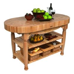 "John Boos - CU-HAR60-N - 60"" Natural Harvest Table image"