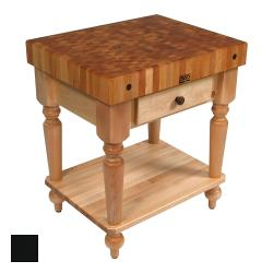 "John Boos - CUCR04-SHF-BK - 30"" Black Maple Rustica Table w/ Shelf image"