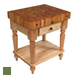 "John Boos - CUCR04-SHF-BS - 30"" Basil Maple Rustica Table w/ Shelf image"