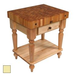"John Boos - CUCR04-SHF-BY - 30"" Buttercup Yellow Maple Rustica Table w/ Shelf image"