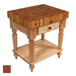 "John Boos - CUCR04-SHF-CR - 30"" Cherry Stain Maple Rustica Table w/ Shelf image"