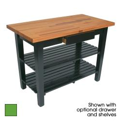 "John Boos - OC3625C-S-AG - 36"" Apple Oak Table w/ Shelf & Casters image"