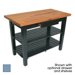 "John Boos - OC4825-D-2S-SB - 48"" Blue Oak Table w/ Drawer & (2) Shelves image"