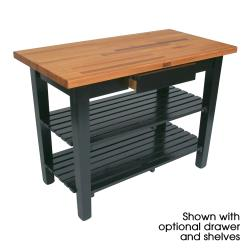 "John Boos - OC4830C-2S-BK - 48"" x 30"" Black Oak Table w/ (2) Shelves & Casters image"