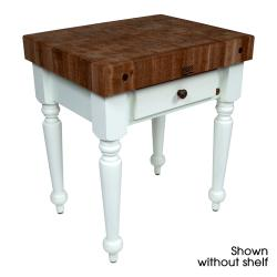 "John Boos - WAL-CUCR04-SHF-AL - 30"" Walnut Rustica Table w/ Walnut Shelf image"