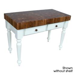 "John Boos - WAL-CUCR05-SHF-AL - 48"" Walnut Rustica Table w/ Walnut Shelf image"