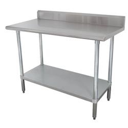 Advance Tabco - KMS-2410 - 120 in x 24 in Stainless Steel Work Table w/ S/S Undershelf and 5 in Backsplash image