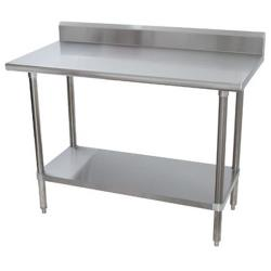 Advance Tabco - KMSLAG-245-X - 60 in x 24 in Stainless Steel Work Table w/ S/S Undershelf and 5 in Backsplash image