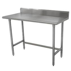 Advance Tabco - TKMSLAG-245-X - 60 in x 24 in Stainless Steel Work Table w/ Open Base and 5 in Backsplash image